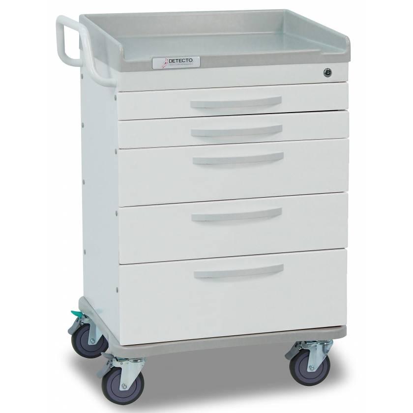 Whisper Series General Purpose Medical Cart 5 White Drawers