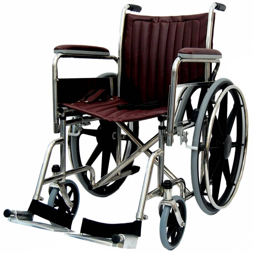 """18"""" Wide Non-Magnetic Wheelchair with Fixed Footrest & Removable Arms"""