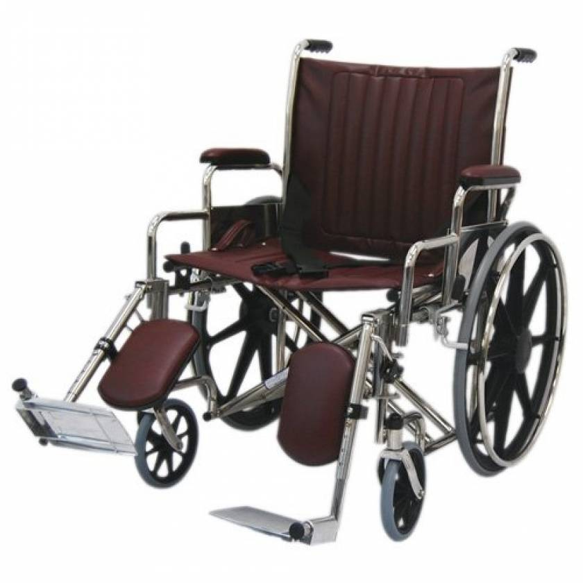 """22"""" Wide Non-Magnetic Wheelchair with Detachable Elevating Legrests"""