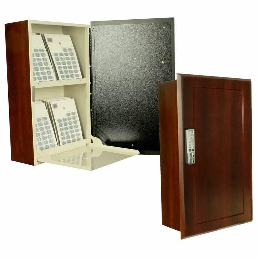 Harloff WL2761E-DC Wood Laminate Wall Mount Medication Cabinet, Electronic Pushbutton Lock, Single Door with Dark Cherry Decorative Panel