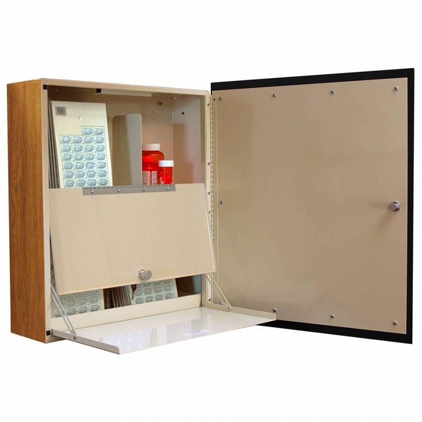 Harloff WL2766NAR-SO Wood Laminate Exterior Wall Mount Large Medication Cabinet, Single Key Lock, Single Door with Solara Oak Decorative Panel, Locking Narcotics Box