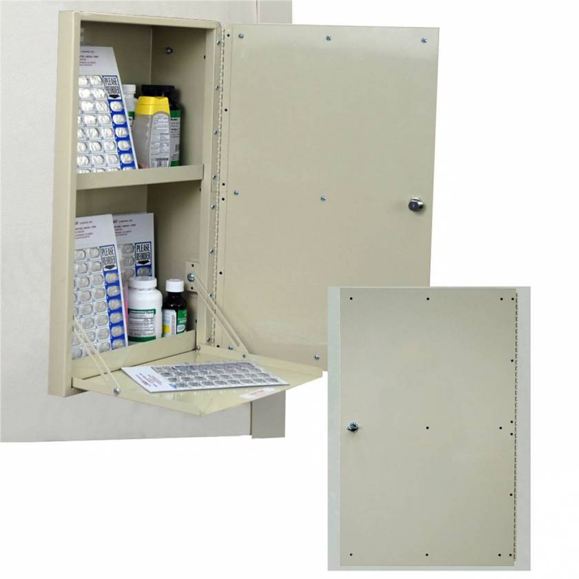 Harloff WL2781 Painted Base In-Wall Medication Cabinet, Single Key Lock, Single Pre-Drilled Right Swing Door