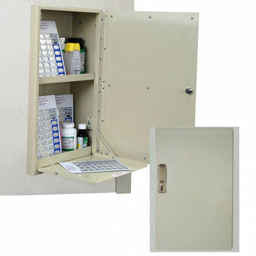 Harloff WL2783E Painted Steel Medication Cabinet, Basic Electronic Pushbuttom Lock, Single Painted Double-Thick Door