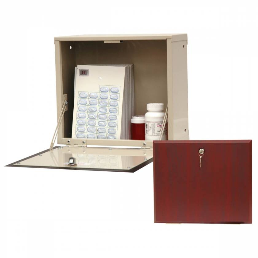 Harloff WL2786-DC Wood Laminate In-Wall Medication Cabinet, Single Key Lock, Single Drop Door with Dark Cherry Panel