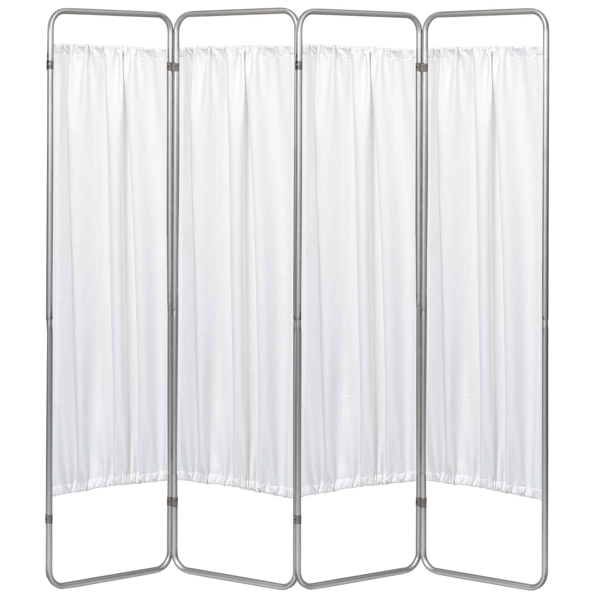 Economy 4 Section Folding Privacy Screen - White Vinyl Screen Panel