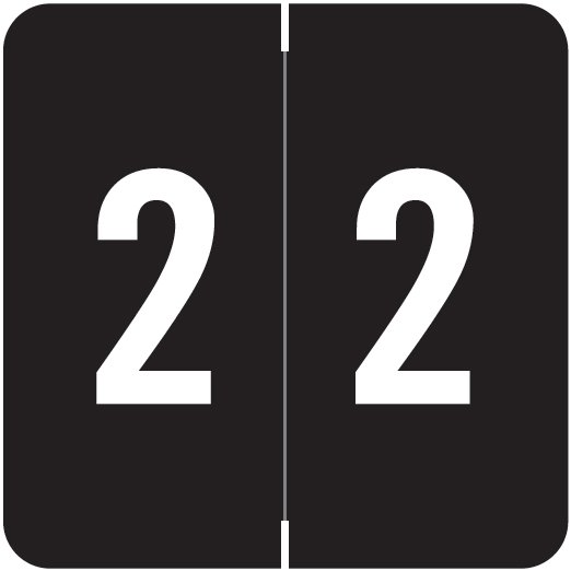 ACME Match ACNM Series Numeric Color Roll Labels - Number 2 - Black