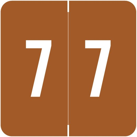 ACME Match ACNM Series Numeric Color Roll Labels - Number 7 - Brown