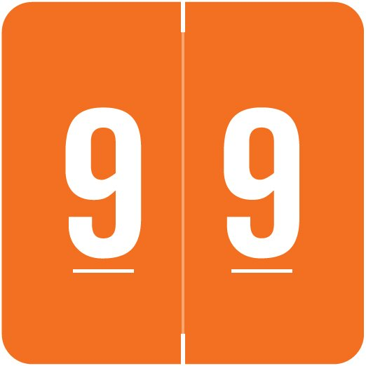 ACME Match ACNM Series Numeric Color Roll Labels - Number 9 - Orange