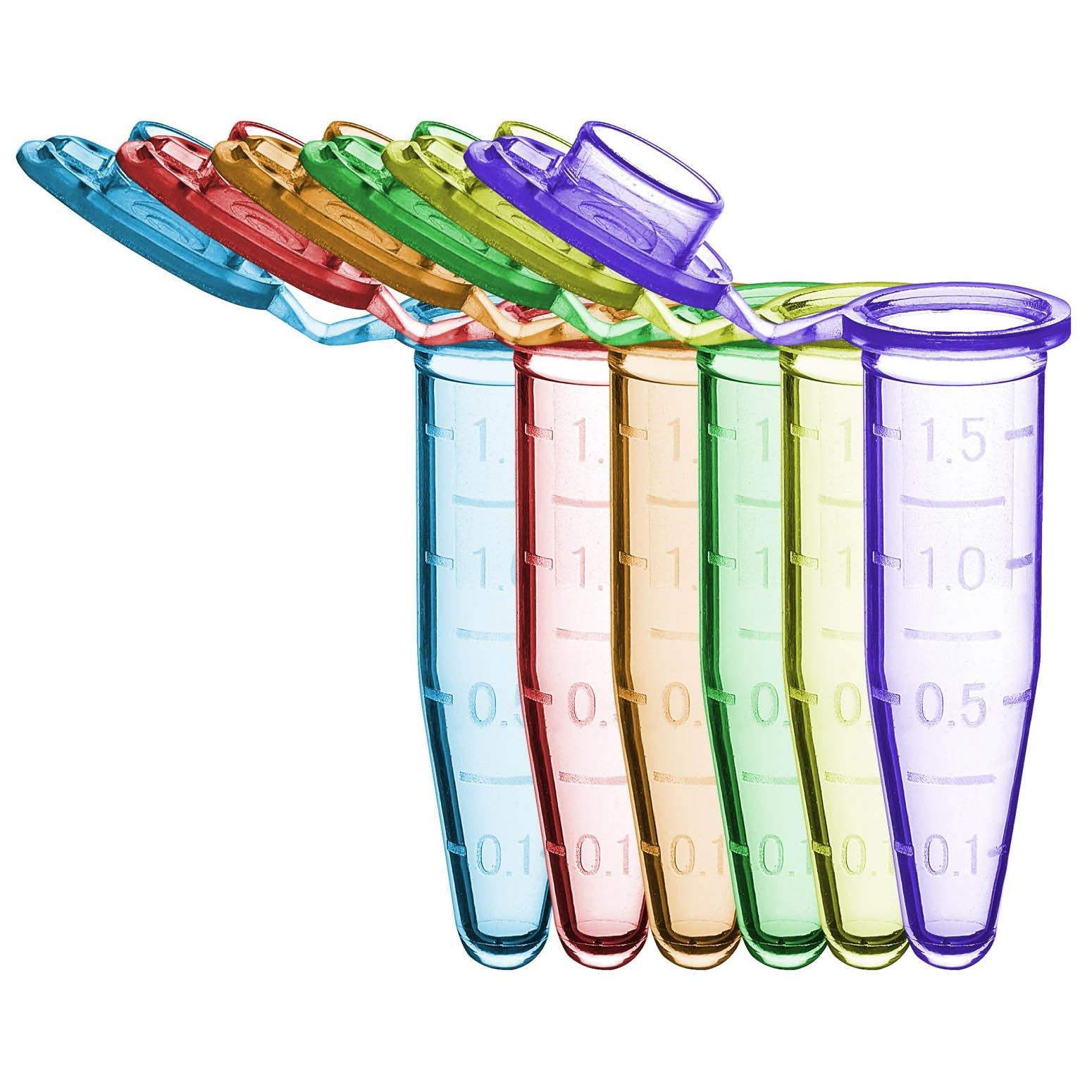 SureSeal S 1.5mL Sterile Microcentrifuge Tube - Assorted Colors (500 Tubes & 10 Stop-Pops/Bag, 1 Bag/Pack)