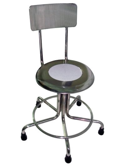 MRI Non-Magnetic Stainless Steel Stool with Backrest & Rubber Tips - 21