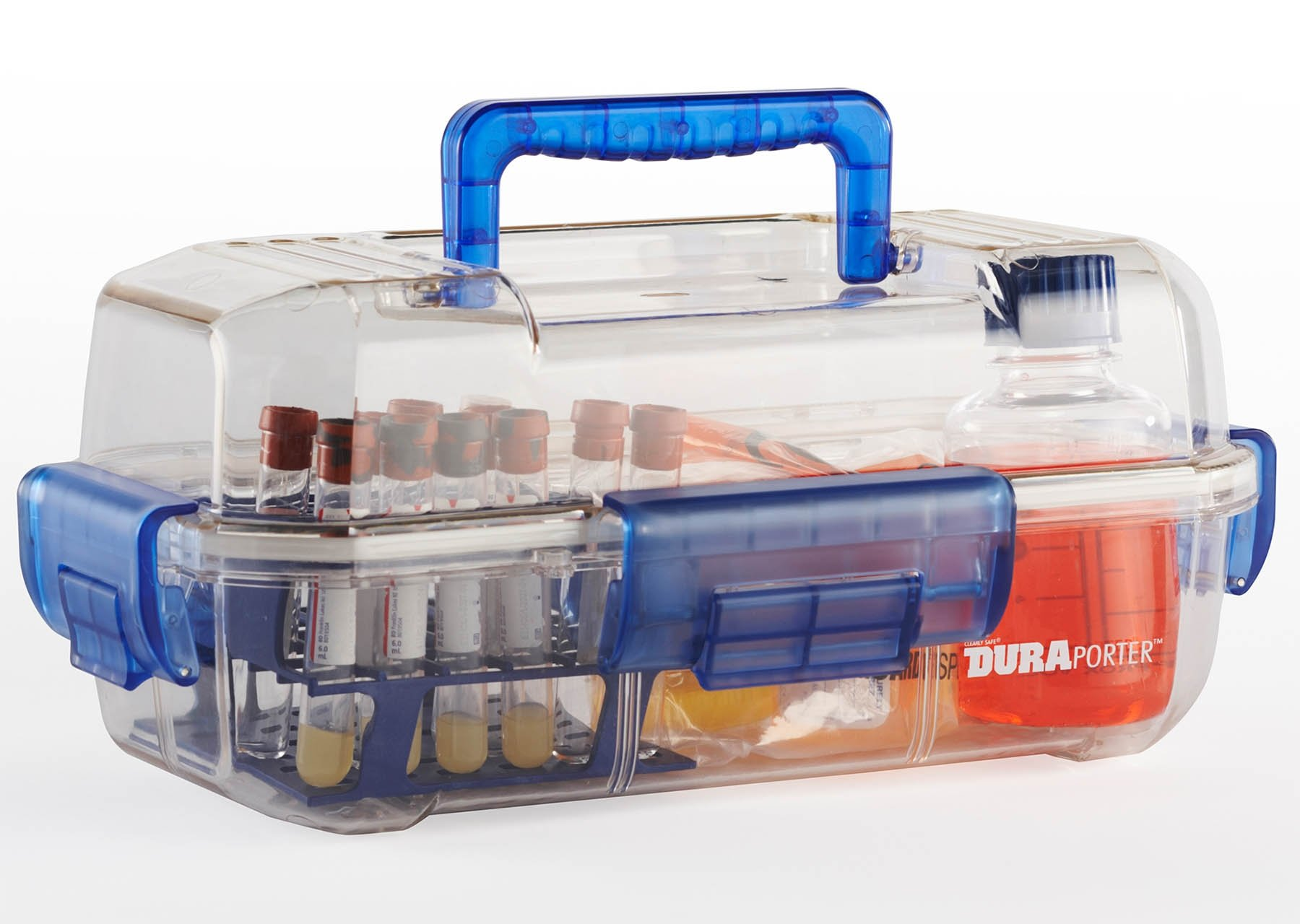 DuraPorter Transport Box - Clear with Blue Handle