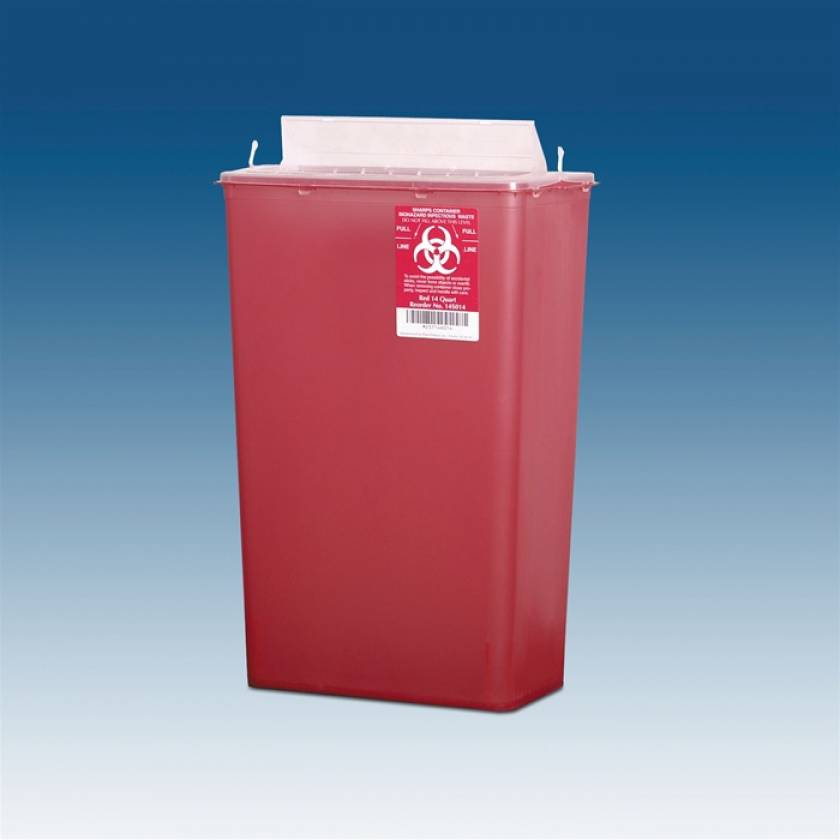 14 Qt. Horizontal Sharps Container Red