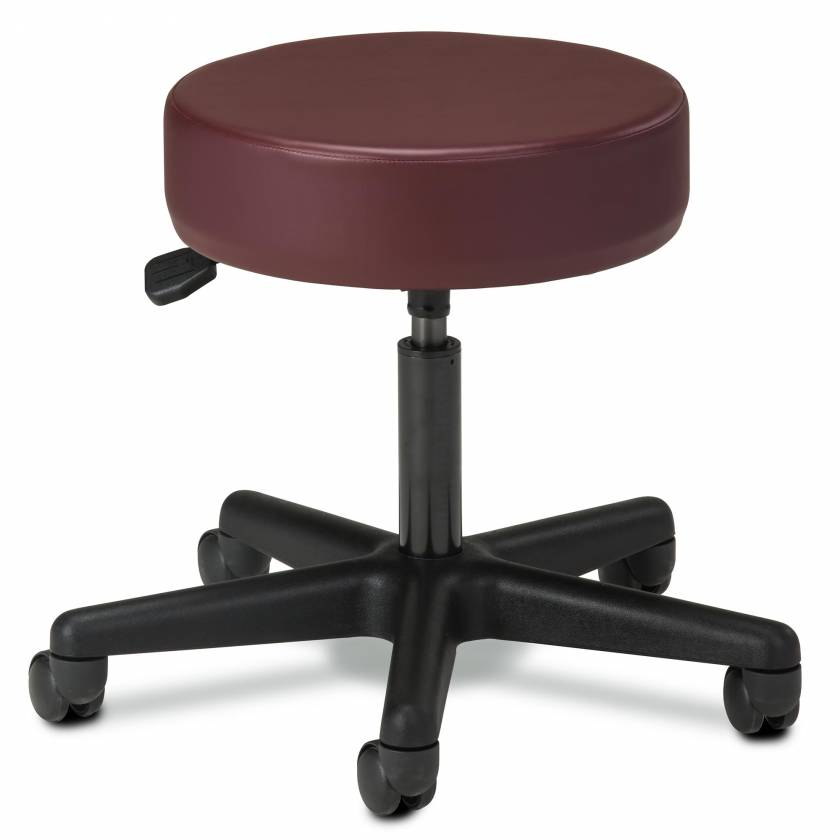 """Clinton Model 2135 5-Leg Spin Lift Stool With Backrest & 24"""" Diameter Black Base"""
