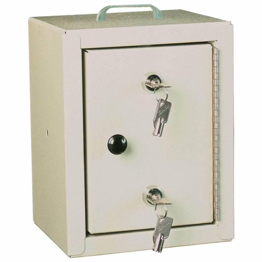 "Harloff 2810AQ Small Narcotic Cabinet, Single Door Double Lock, 10"" H x 7"" W x 7"" D"