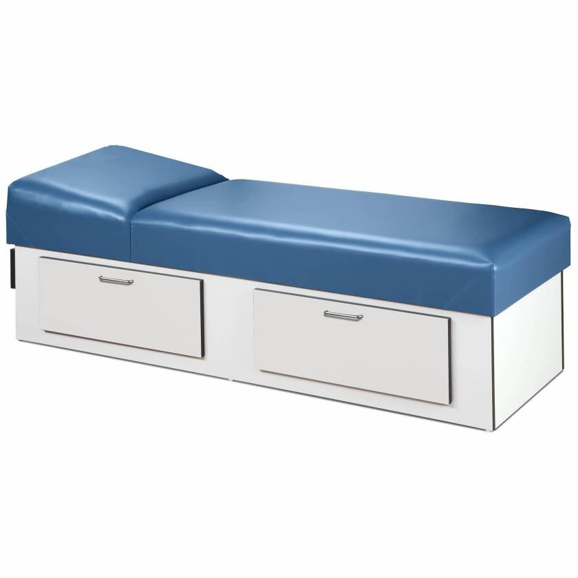 Clinton 3713-10 Upholstered Apron Recovery Couch with Double Drawer Storage & Non-Adjustable Pillow Wedge