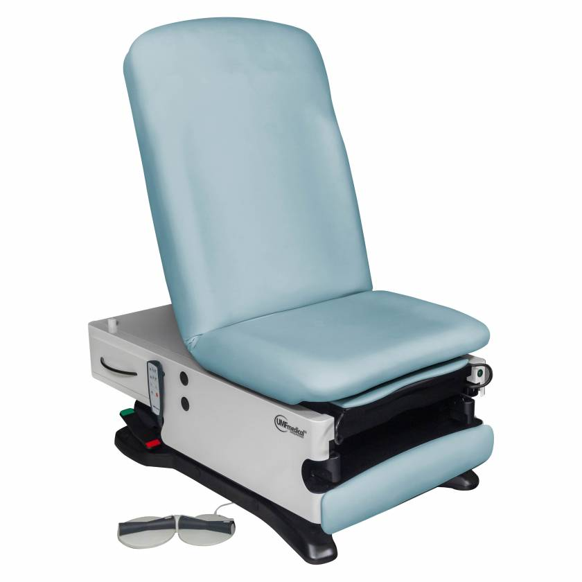 Model 4040-650-300 ProGlide300+ Power Exam Table with Power Hi-Lo, Power Back, WheelBase, Foot Control and Programmable Hand Control - Blue Skies