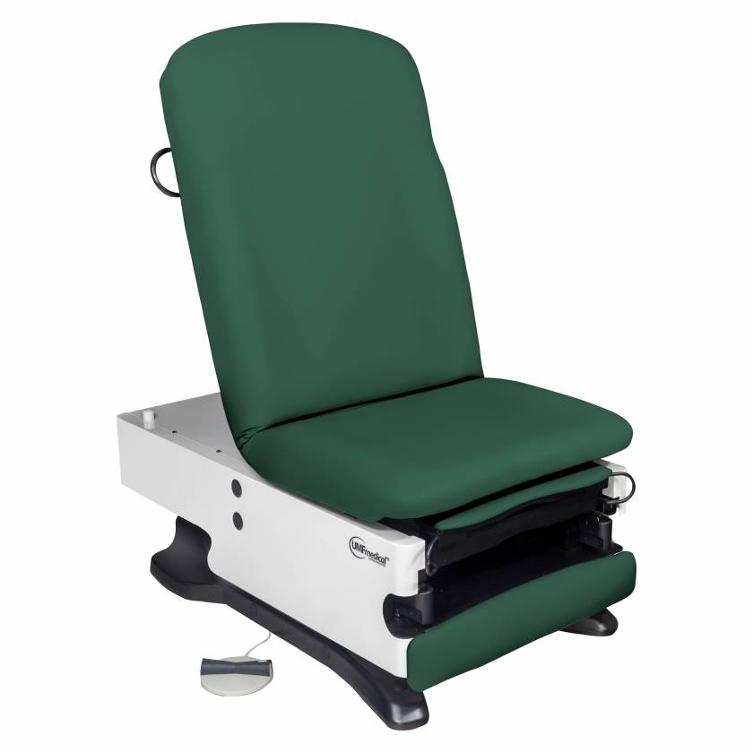Model 4070-650-100 Power100 Power Exam Table with Power Hi-Low, Manual Back, and Foot Control - Deep Forest