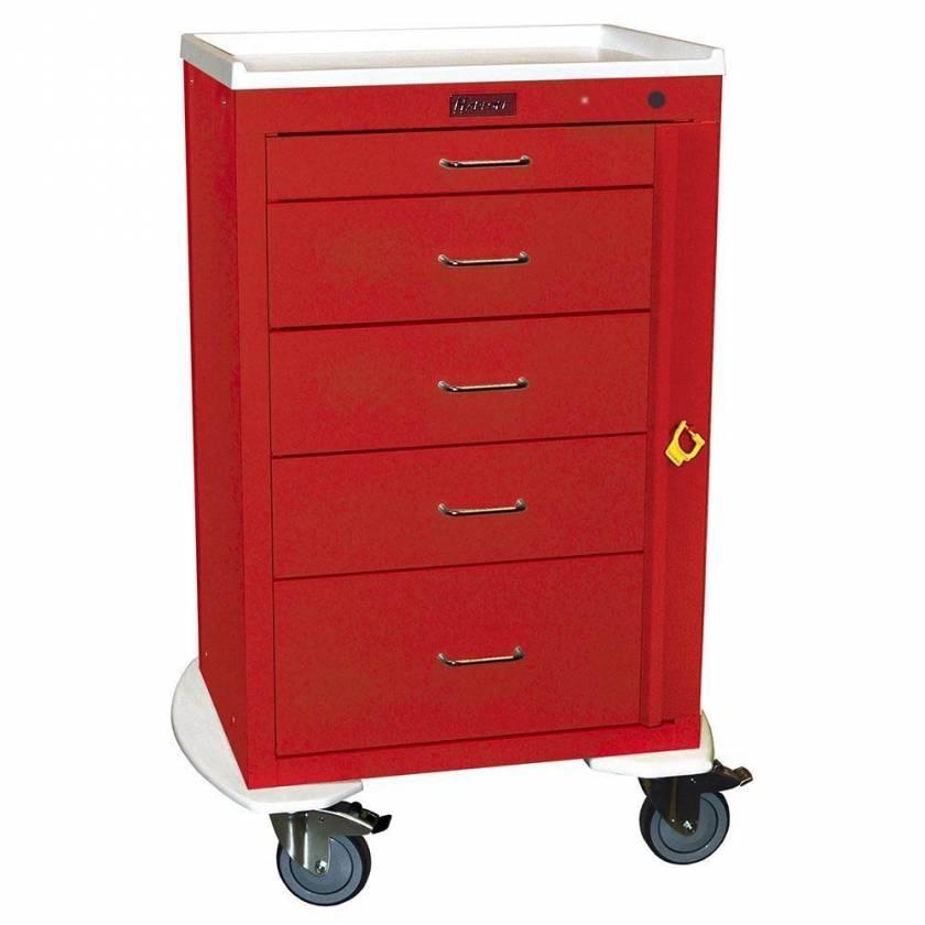 "Harloff 4255B Mini24 24"" Wide Tall Emergency Cart 5 Drawer with Breakaway Lock & Pontoon Bumper"