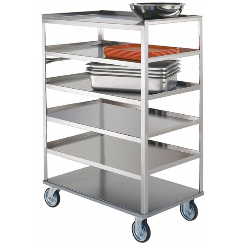 Lakeside SS Medium Duty Multi-Shelf Carts - All Edges Down - Perimeter Bumper (6-Shelf)