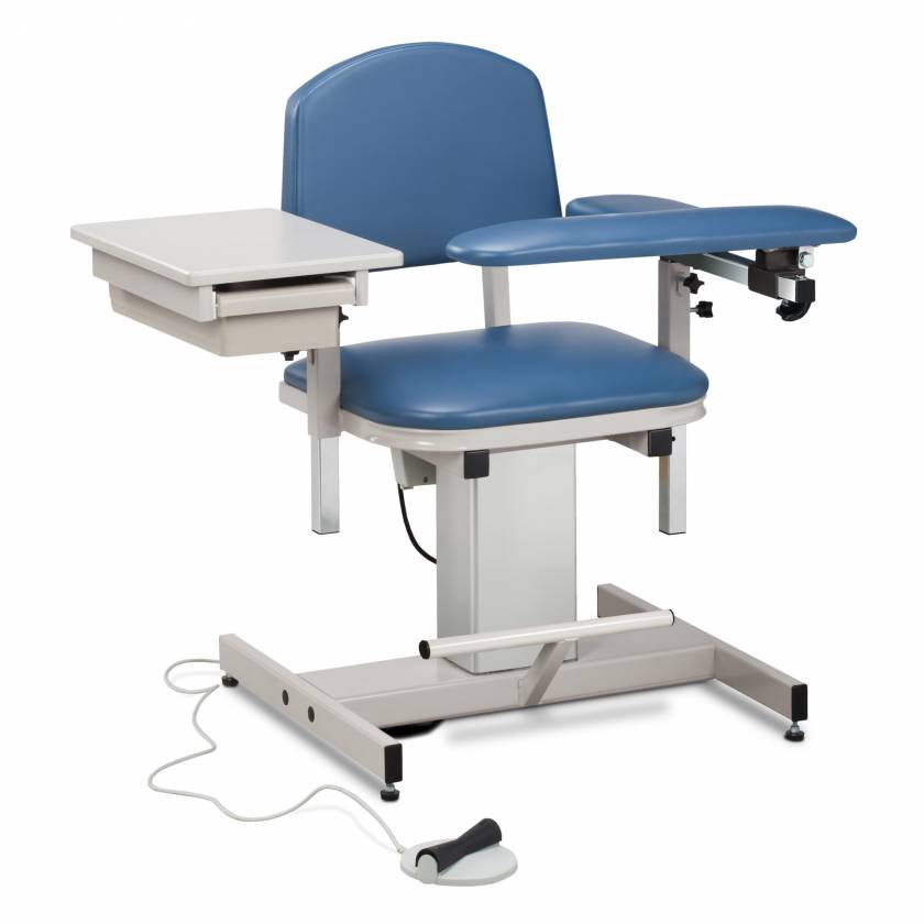 Clinton Power Series Blood Drawing Chair with Padded Flip Arm and Drawer Model 6342