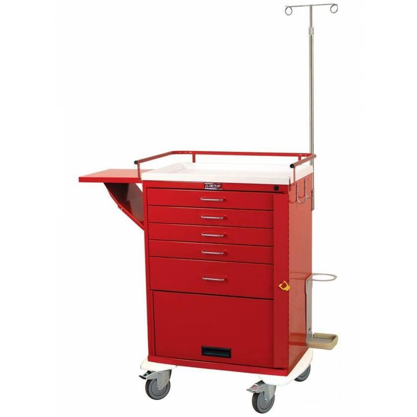 Harloff 6403 Classic Tall Emergency Cart 5 Drawer Bottom Compartment Breakaway Lock Accessory Package
