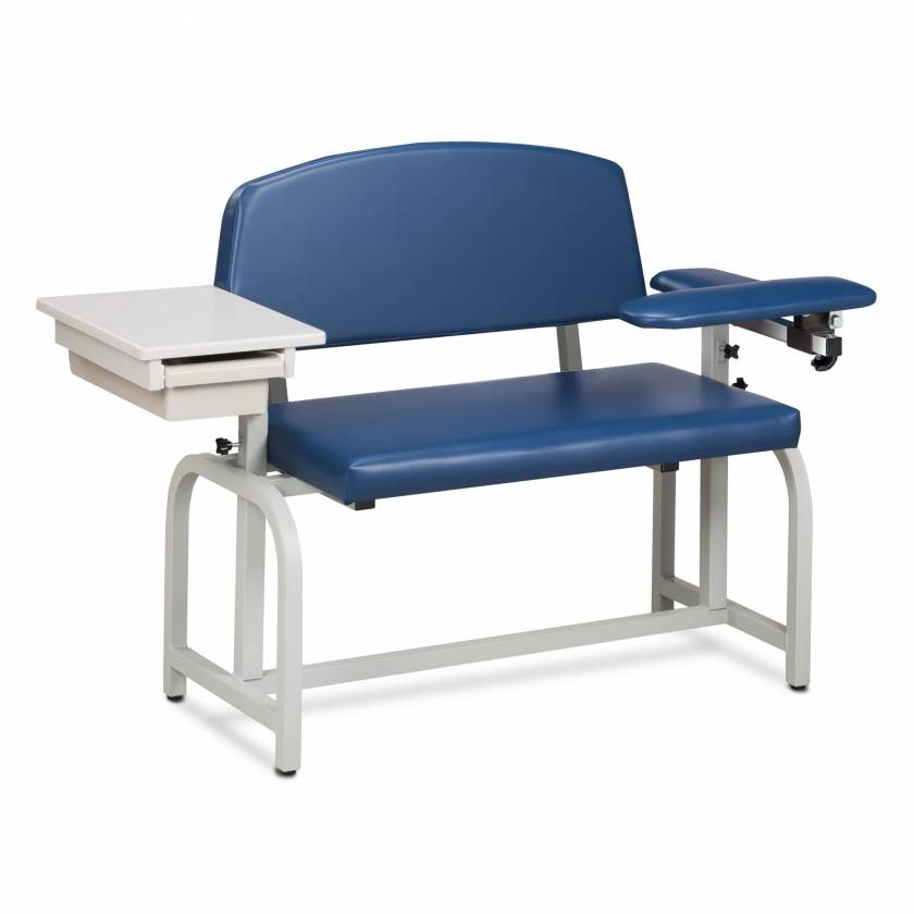 Clinton Lab X Series Extra-Wide Blood Drawing Chair with Padded Flip Arm and Drawer Model 66002