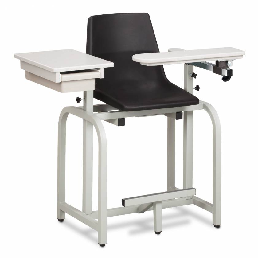 Clinton Standard Lab Series Extra-Tall Blood Drawing Chair with Drawer and Flip-Arm Model 66022-P