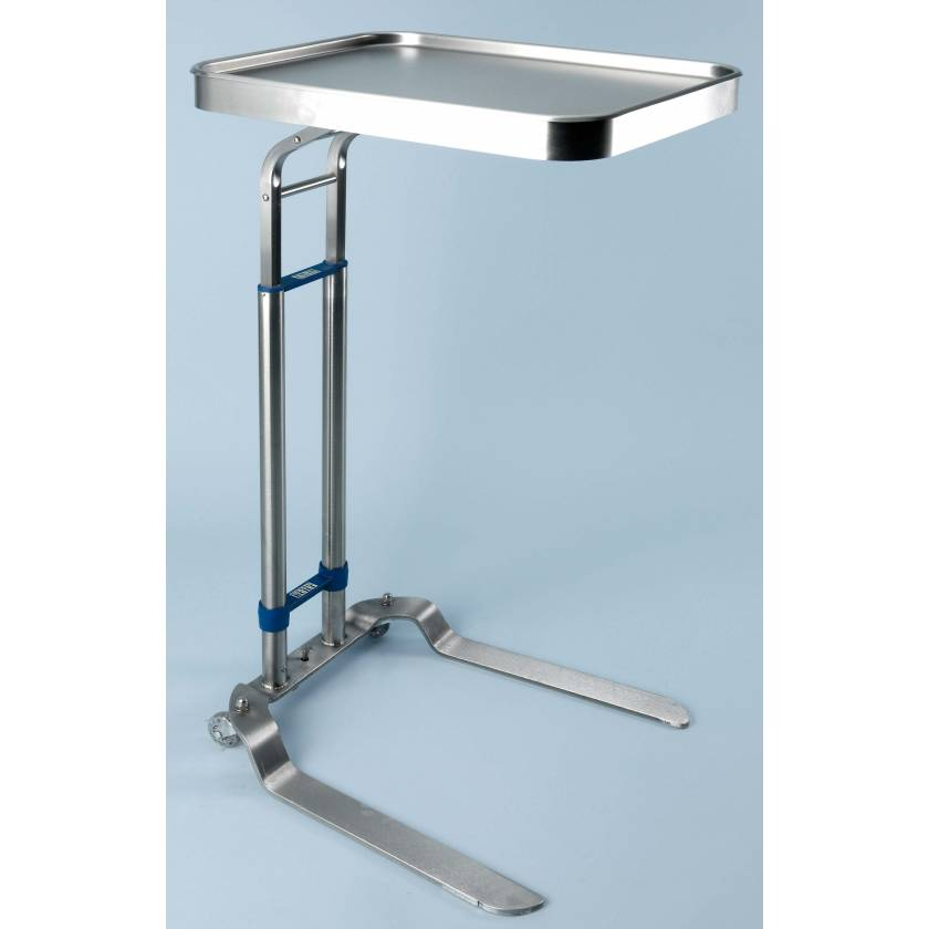 "Stainless Steel Benjamin Single Post Foot-Operated Mayo Stand - Tray Size 12 5/8"" x 19 1/8"""