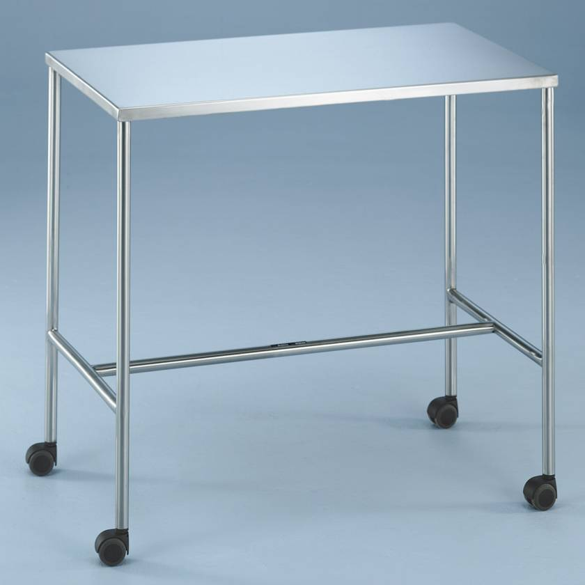 Non-Magnetic Instrument Table with H-Brace and Swivel Casters