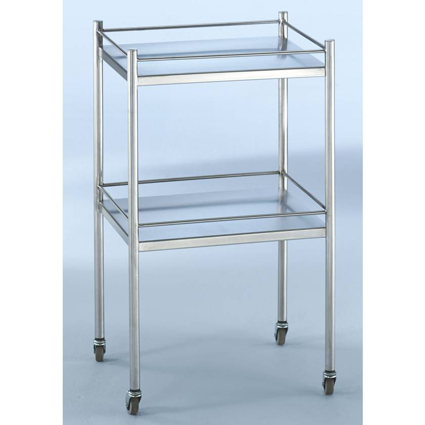 Blickman SS Utility Table with Four Sided Guard Rail and Two Shelves