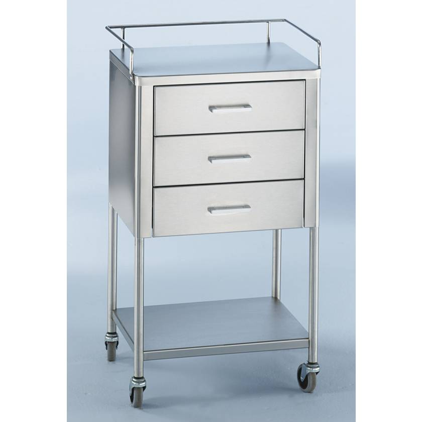 Blickman SS Anesthesia Utility Table with Guard Rail and Three Drawers