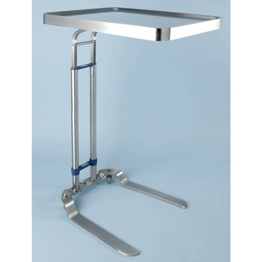 """Stainless Steel Benjamin Double Post Foot-Operated Mayo Stand - Tray Size 20"""" x 25"""""""