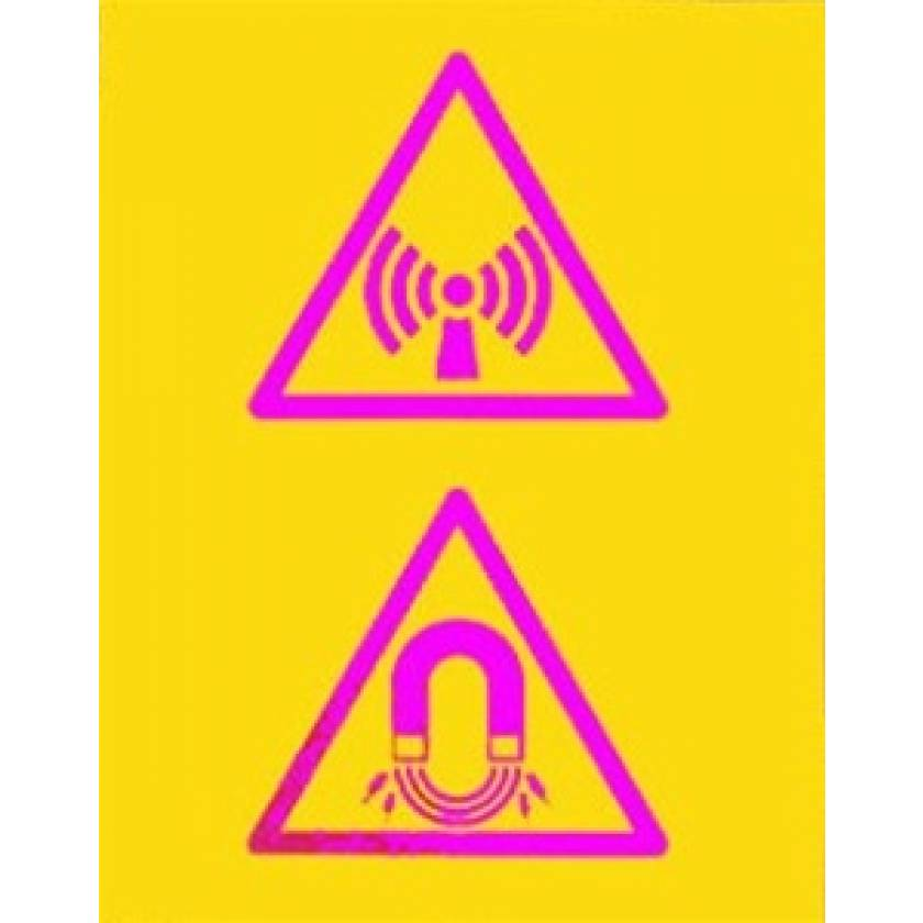 Silk Screened Sign Non Ionising Radiation and Magnet Field Symbols