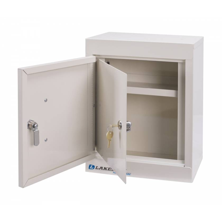 """Lakeside Narcotic Cabinet -w/ Handle, One Shelf, Double Door, Double Lock - 15"""" H x 12"""" L x 8"""" W"""