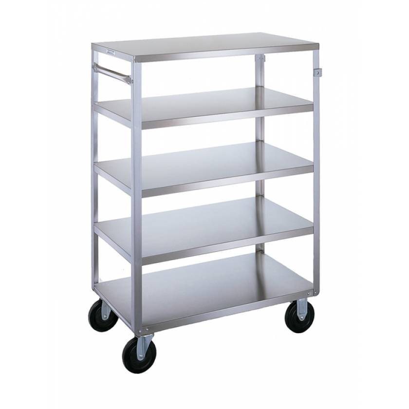 Lakeside SS Medium Duty Multi-Shelf Cart - 3 Edges Up 1 Down - Front Leg Bumper - 5 Shelves
