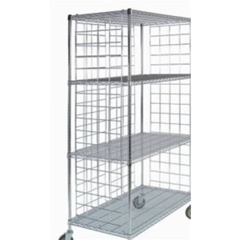 """Shelf-Attached Enclosure Panel for Wire Carts - Shelf Width 13"""" x Panel Height 64"""""""