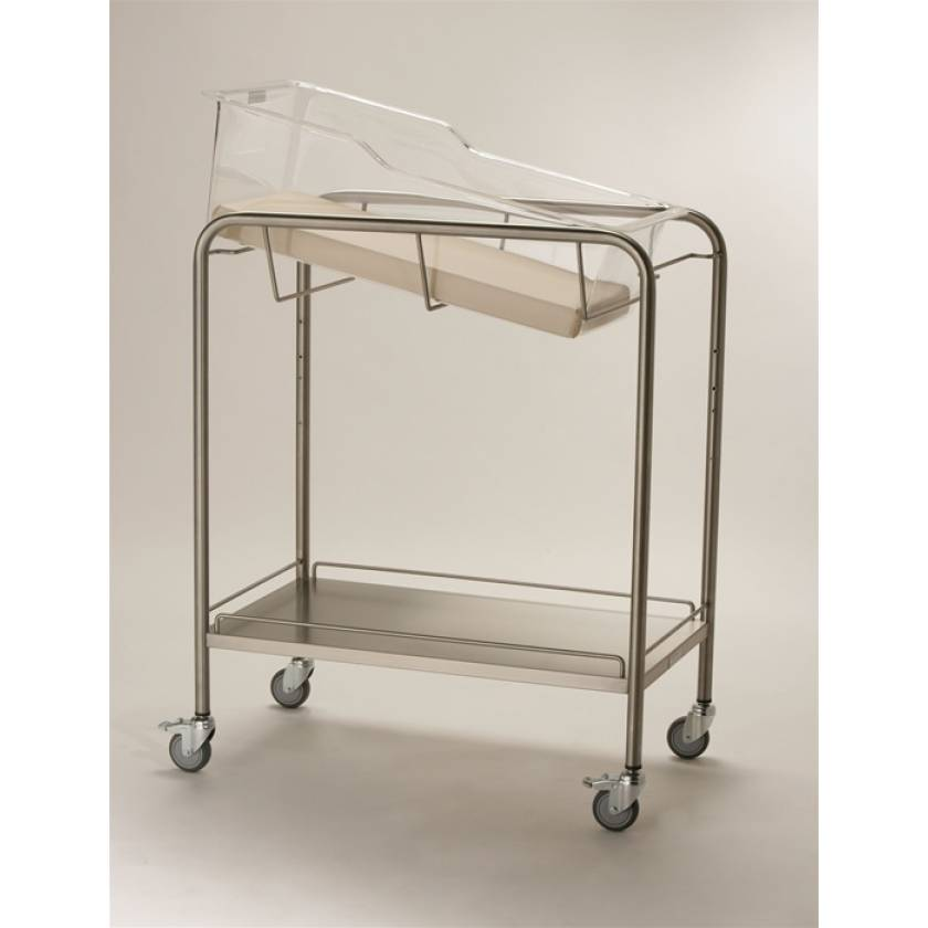Stainless Steel Hospital Bassinet Carrier with Shelf & Guard Rail