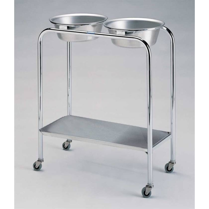 Pedigo Stainless Steel Double Basin Stand With 2 Stainless Steel Basins & Lower Shelf