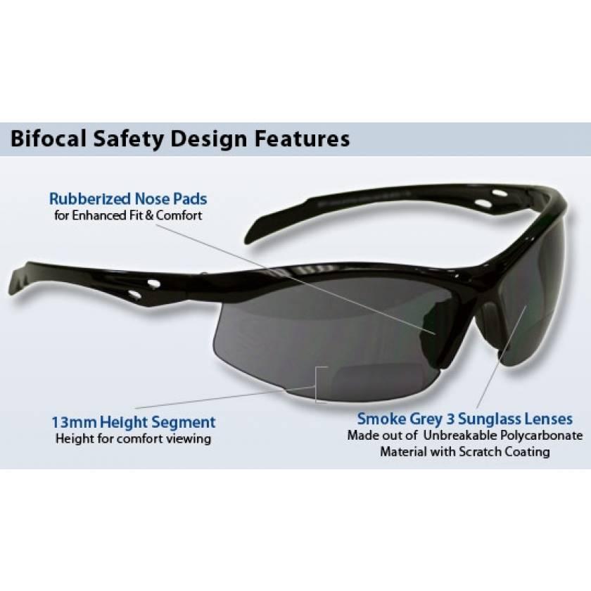 Bifocal Safety Glasses SB-9000 with Smoke Grey Lens