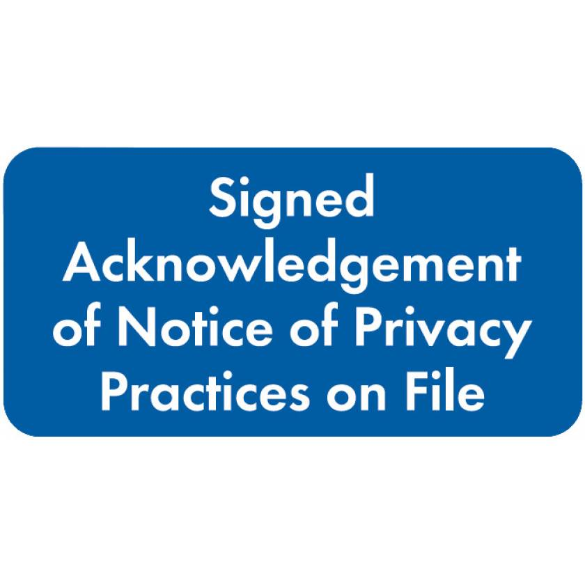 """SIGNED ACKNOWLEDGEMENT Label - Size 2""""W x 1""""H"""