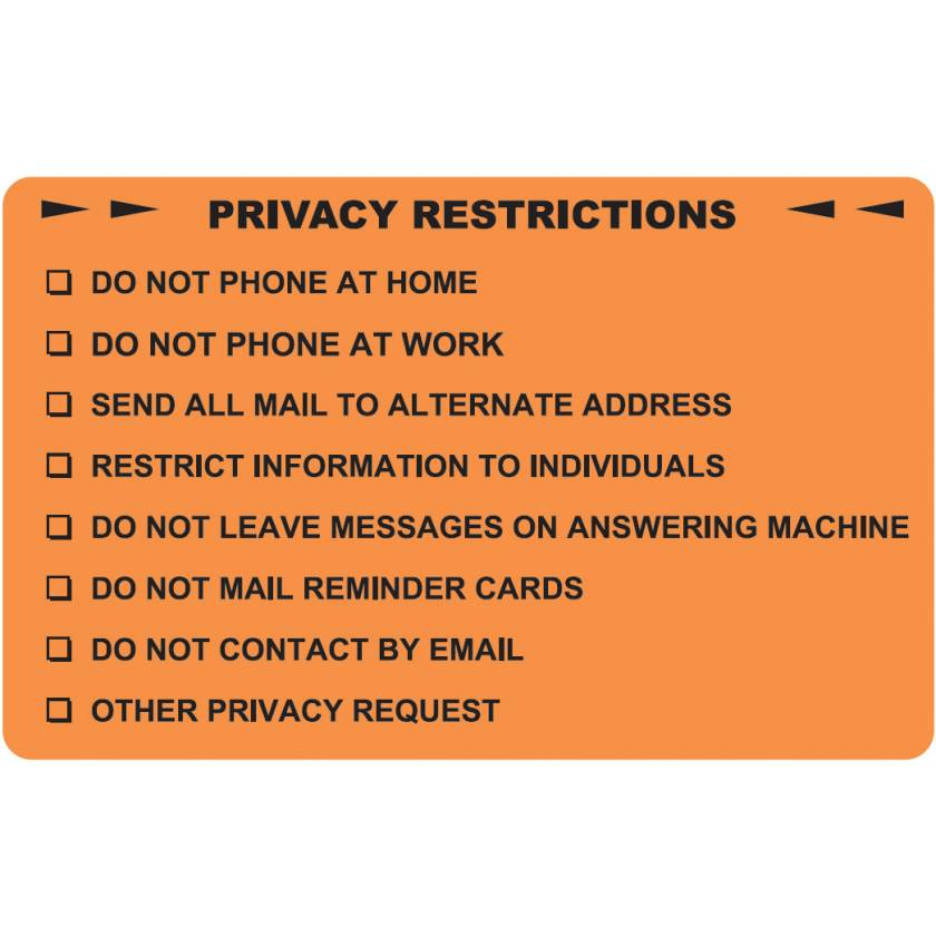 "PRIVACY RESTRICTIONS Label - Size 4""W x 2 1/2""H"