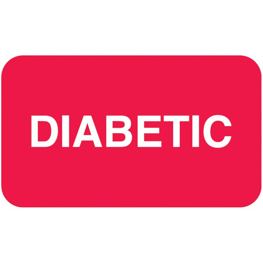 "DIABETIC Label - Size 1 1/2""W x 7/8""H - Red"
