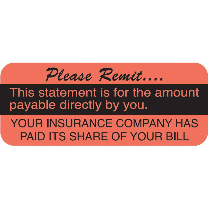 "PLEASE REMIT Label - Size 1 7/8""W x 3/4""H"