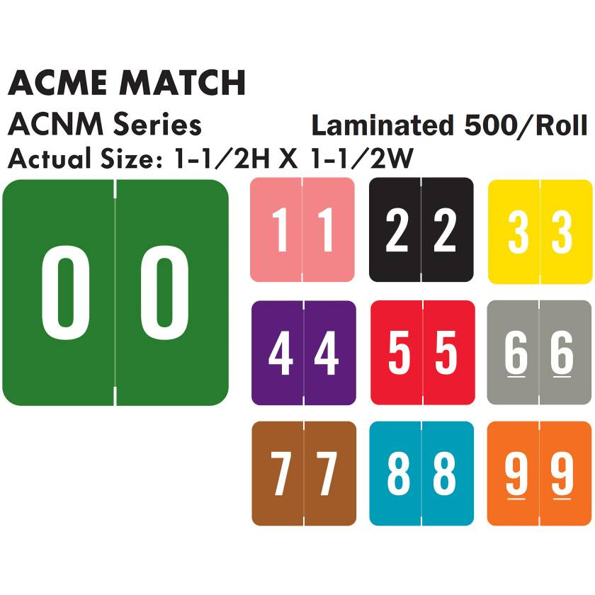 "ACME Match ACNM Series Numeric Color Code Roll Labels - 1 1/2""H x 1 1/2""W"