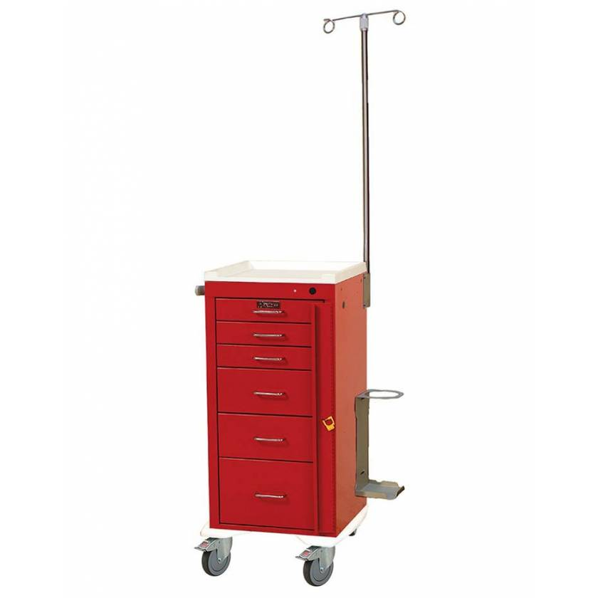 Harloff AL3256B-EMG Aluminum Mini Line Tall Emergency Cart 6 Drawer Breakaway Lock & EMG Accessory Package
