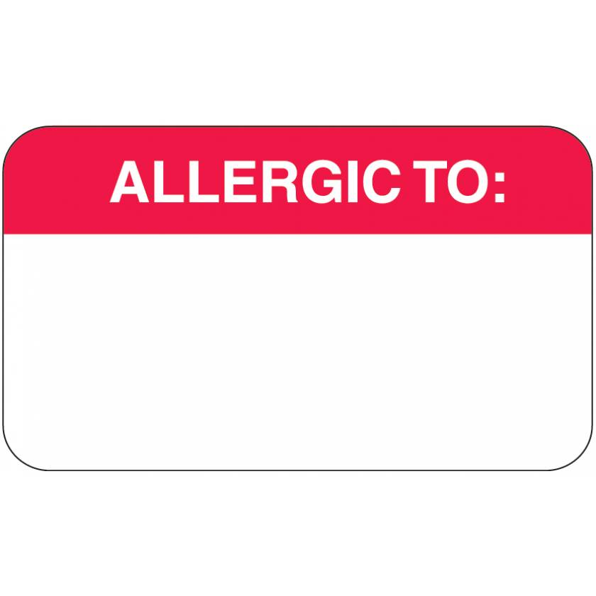 """ALLERGIC TO Label - Size 1 1/2""""W x 7/8""""H - Box of 500"""
