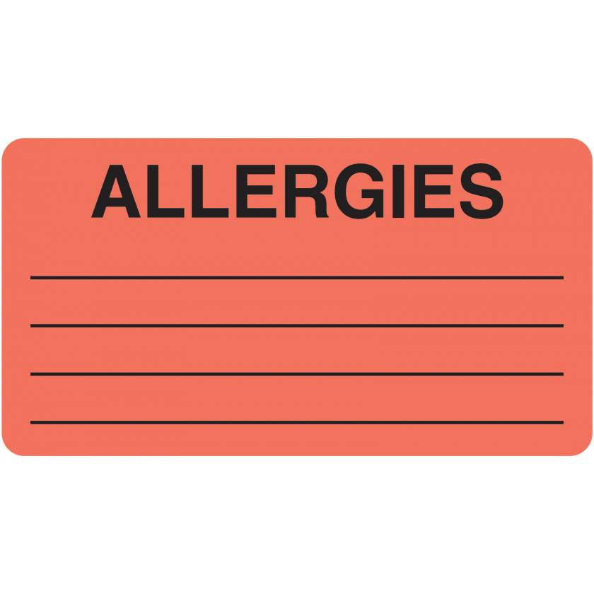 """ALLERGIES Label - Size 3 1/4""""W x 1 3/4""""H - Box of 500"""