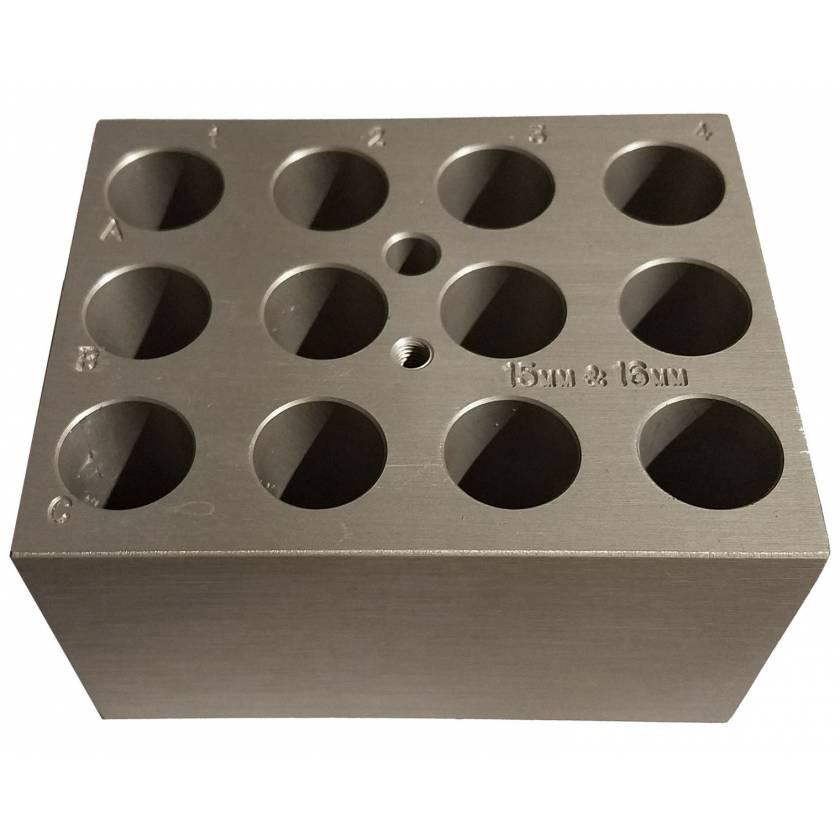 Block For Digital Dry Bath - 12 x 15-16mm or 12 x 10ml Tubes