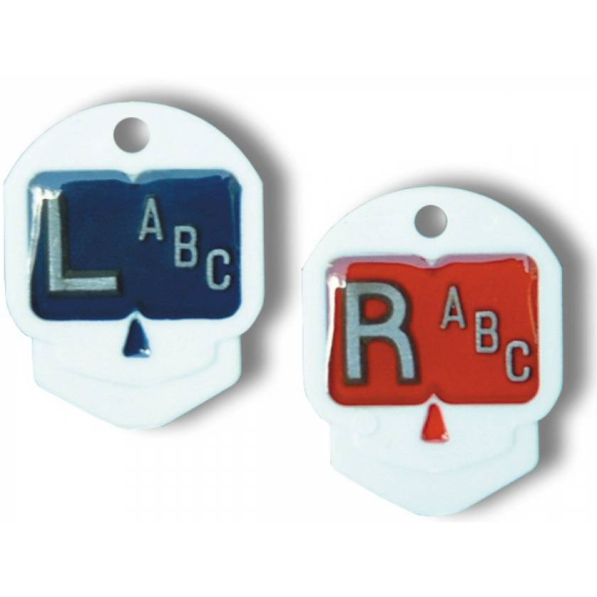 """Plastic Skull Markers """"L"""" and """"R"""" With 1 to 3 Initials"""