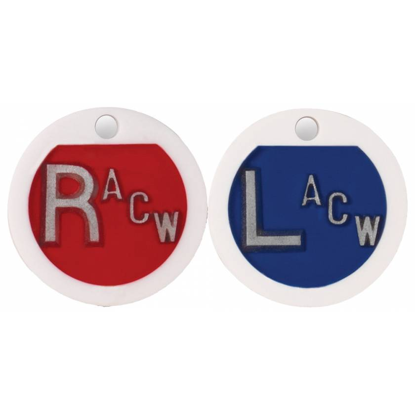 """Plastic Round Markers - """"L"""" & """"R"""" With Initials"""